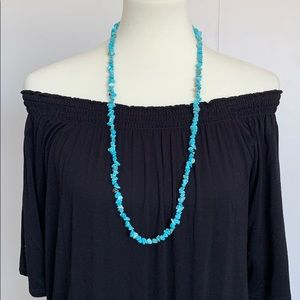 Turquoise Magnasite chip stone necklace